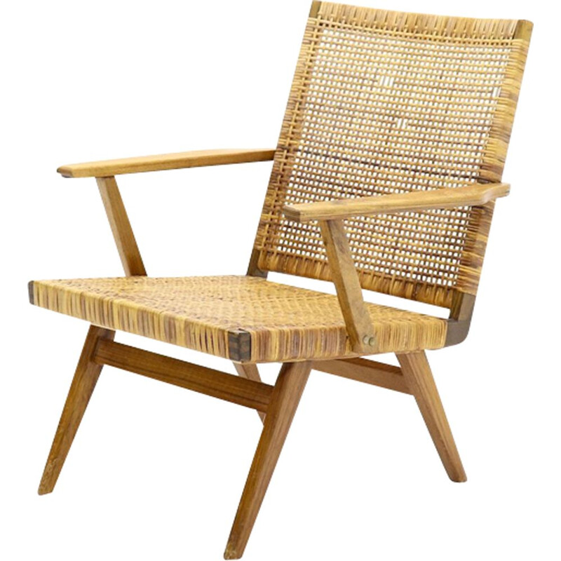 Vintage armchair cane and teak 1950