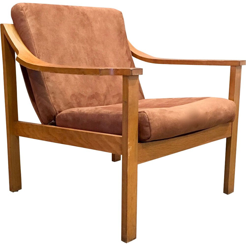 Vintage armchair scandinavian in teak and fabric 1950