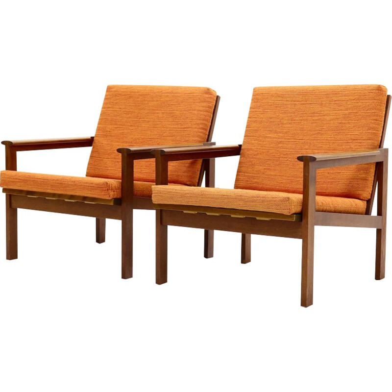 Set of 2 vintage armchairs Capella for Eilersen in teak and orange fabric 1960