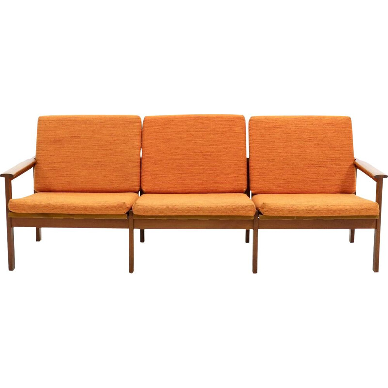 Vintage sofa Capella for Eilersen in orange fabric and teak 1960