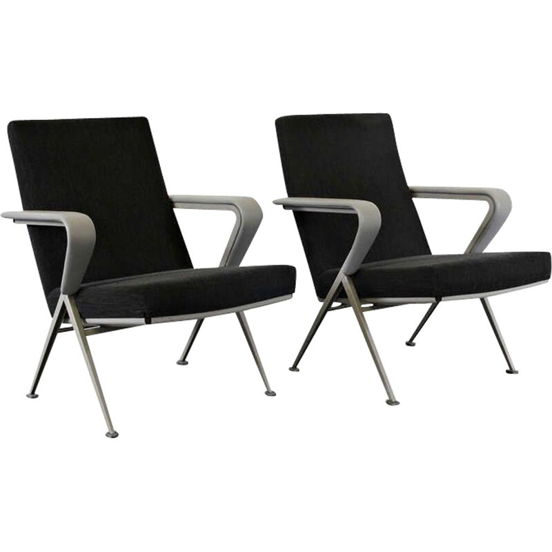 Pair of vintage armchairs Repose for De Cirkel in metal and black leather