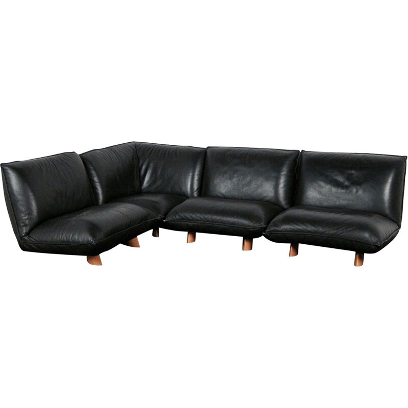 Vintage sofa modular in black leather and wood Italian 1970
