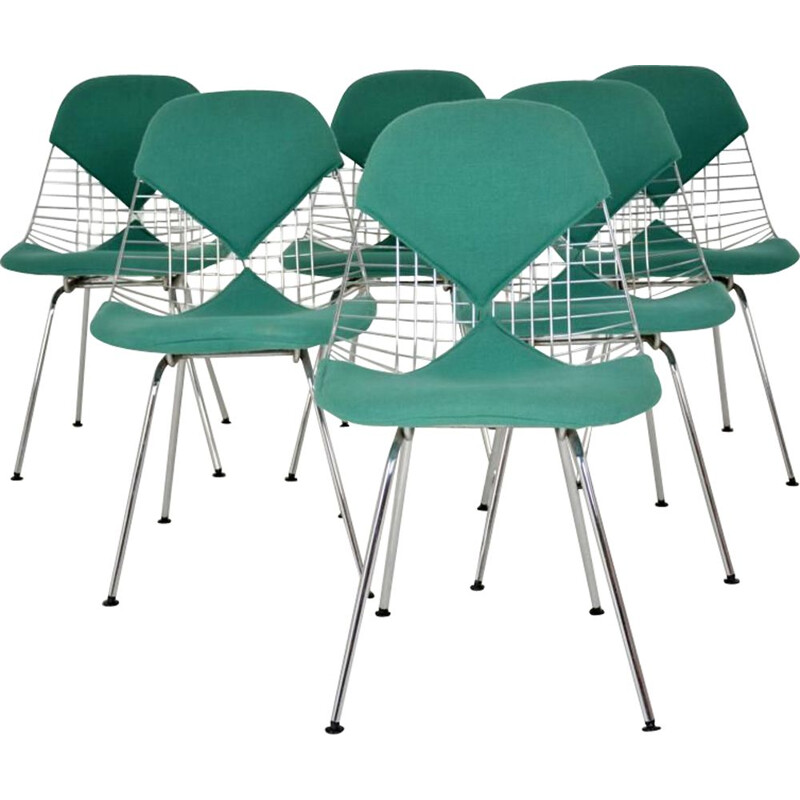 Set of 6 vintage Bikini chairs for Herman Miller in green fabric 1970