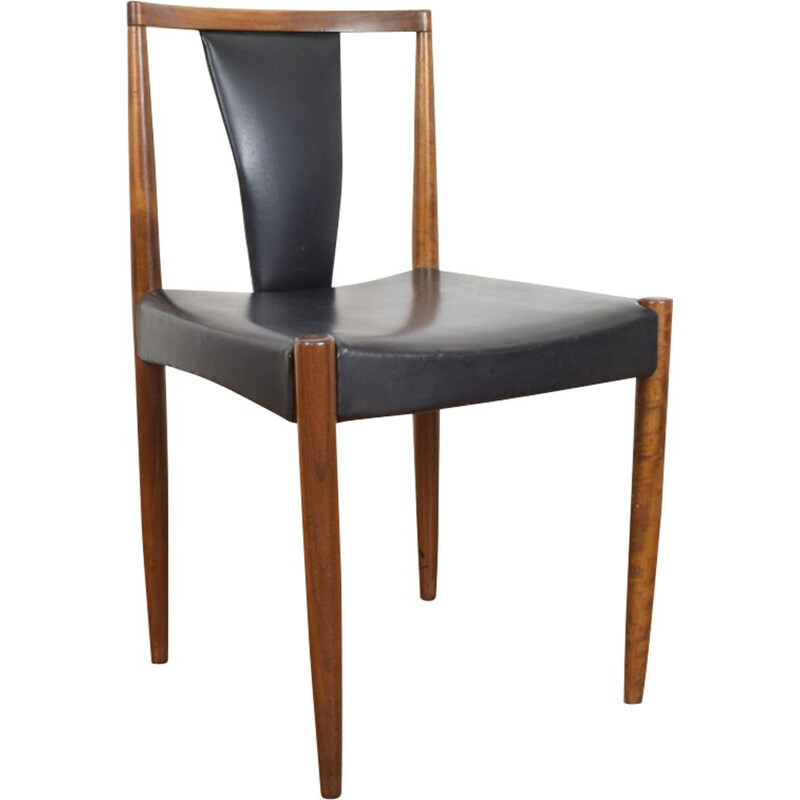Vintage danish teak chair in black leather and teak 1960