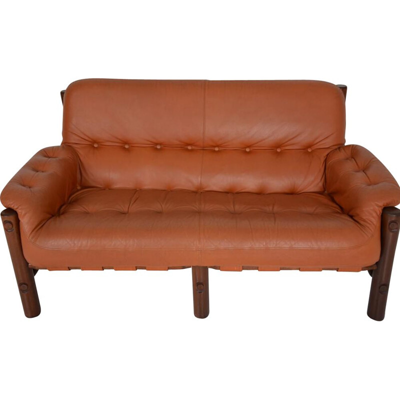 Vintage brazilian sofa in rosewood and brown leather 1960