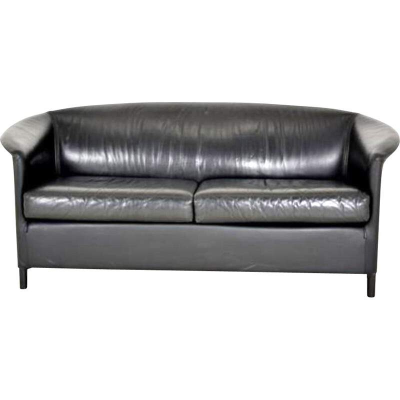Vintage italien Aura sofa for Wittmann in black leather 1960