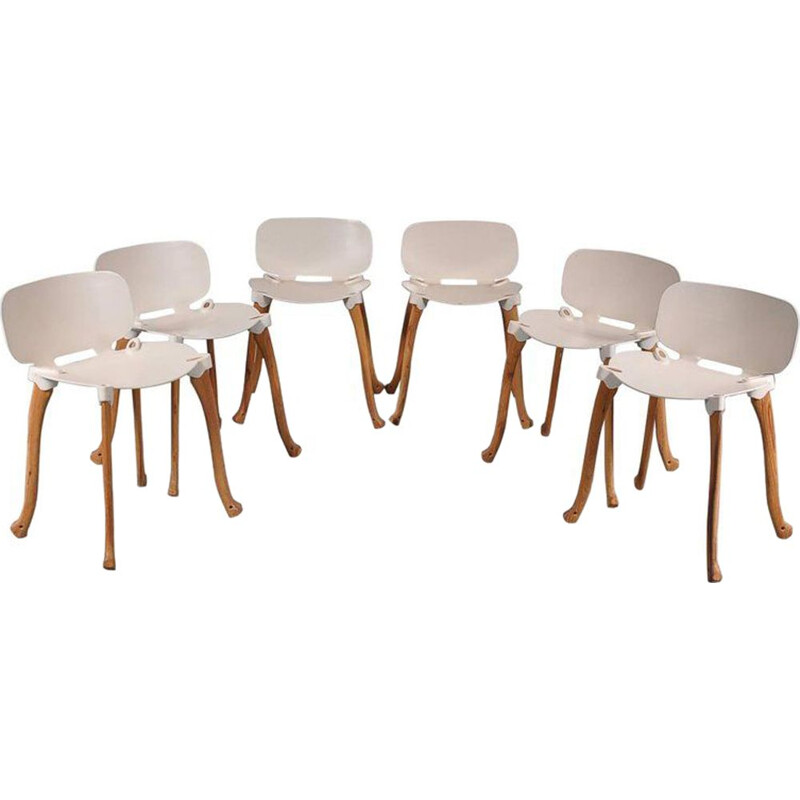 Set of 6 vintage Axe chairs for Studio Weltevree in white cast aluminium and wood