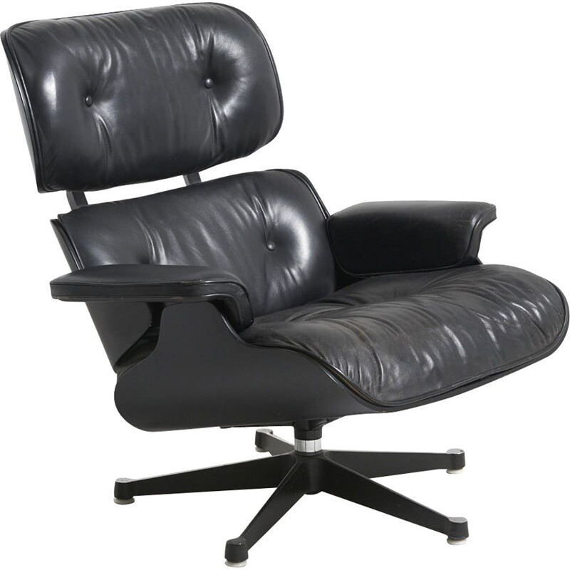 Vintage black Eames lounge chair by Charles and Ray Eames