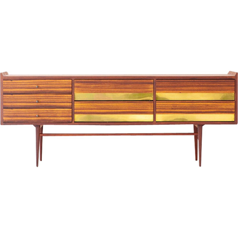 Vintage Italian rosewood and brass sideboard