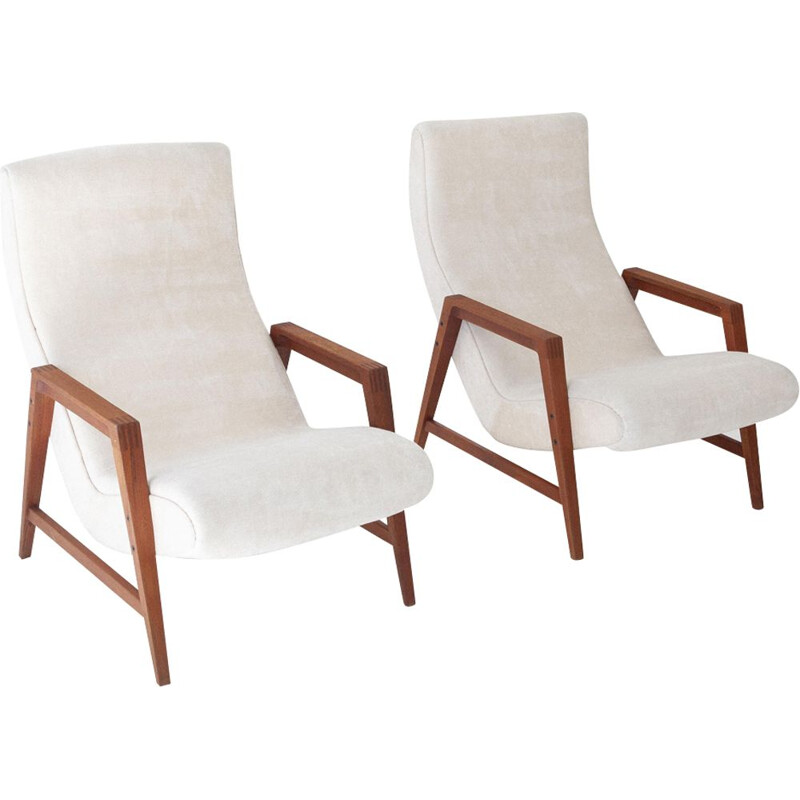 Pair of vintage Italian armchairs in teak and velvet, 1950s