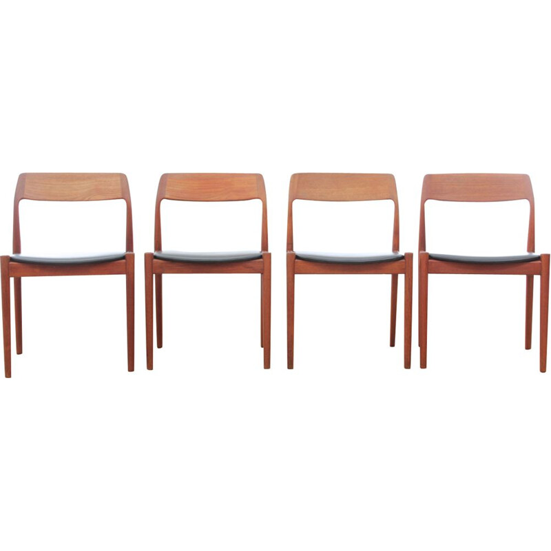 Set of 4 vintage chairs Scandinavian in teak by Norgaards Mobelfarik, 1960s