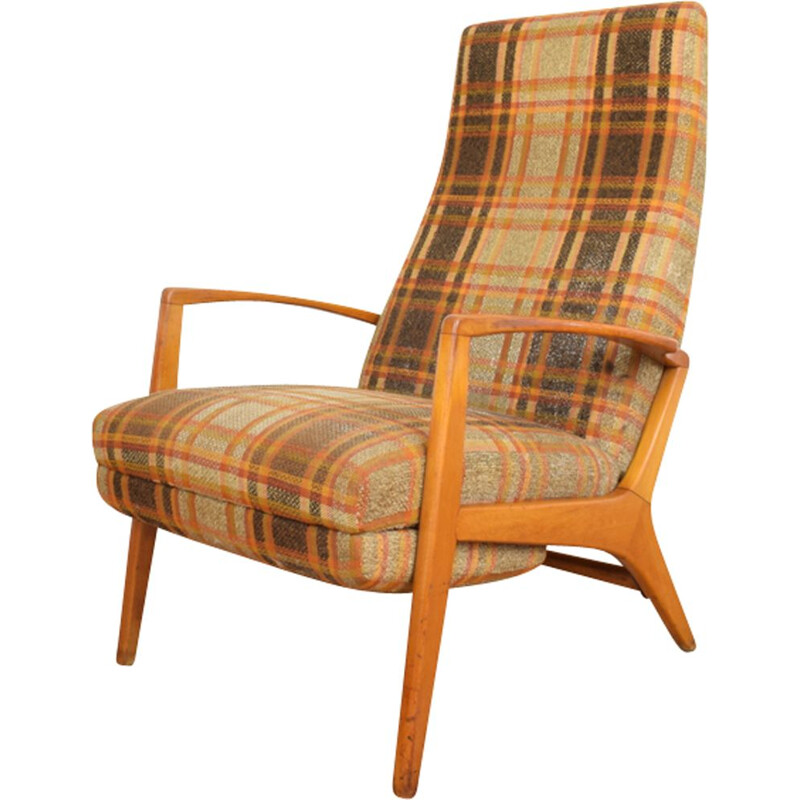 Vintage German Armchair with Footstool, 1960s