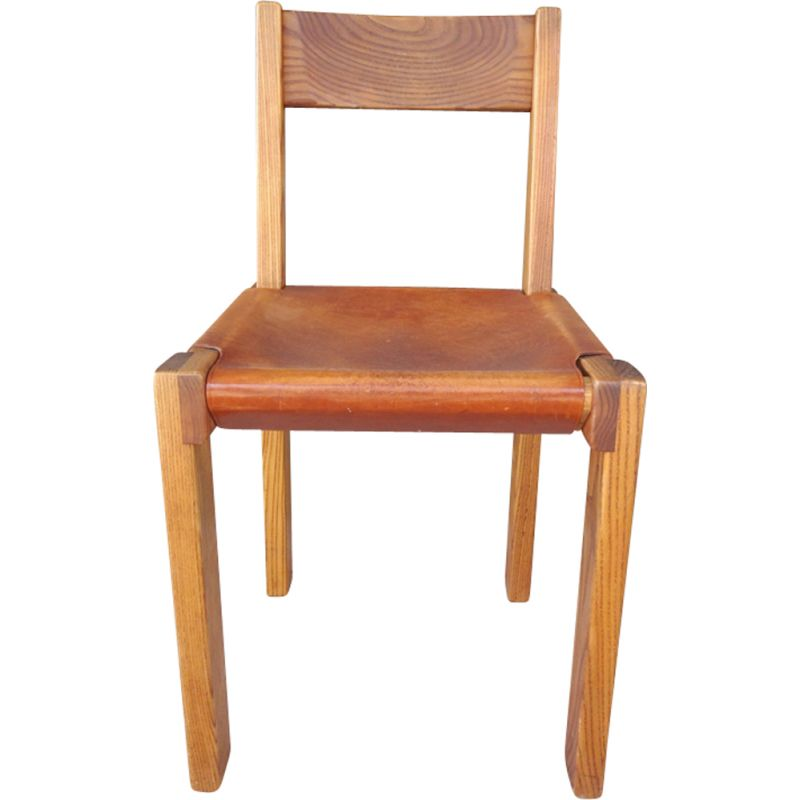 Vintage elm dining chair 's24' by pierre chapo, 1970