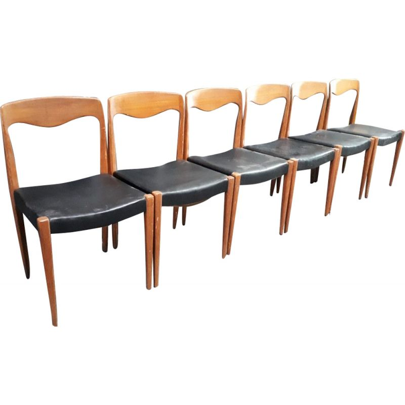 Set of 6 vintage dining chairs, Scandinavian style, in black leather and teak,1960