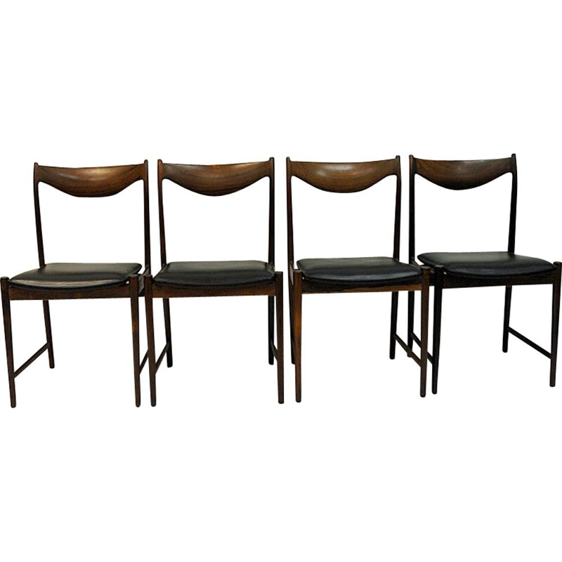 Set of 4 vintage Rosewood chairs with black leather, by Torbjørn Afdal 1960s