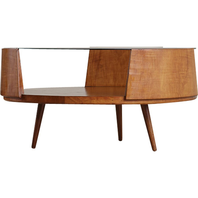 Vintage coffee table by Martin Eisler for Forma in wood and glass 1950