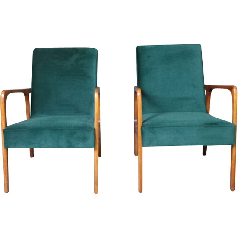 Set of 2 vintage armchairs in green fabric and wood 1960