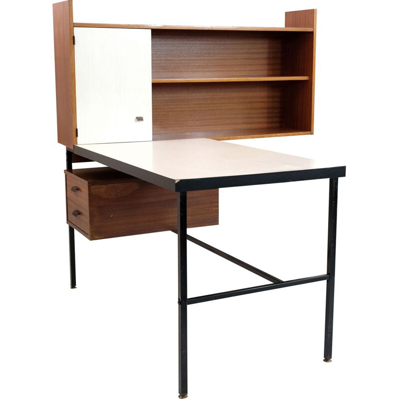 French vintage desk in wood and metal 1960