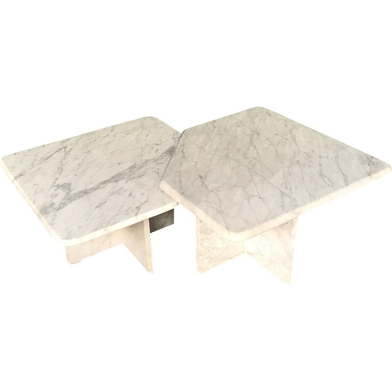 Pair of vintage italian coffee tables in white travertine 1960