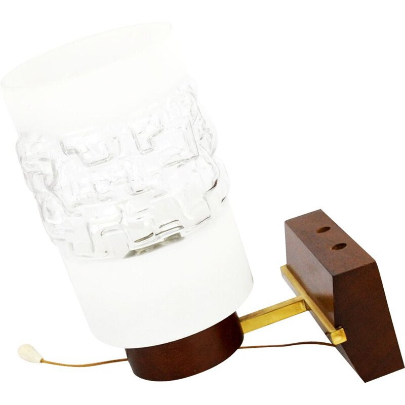 Vintage scandinavian wall lamp in teakwood and glass 1970