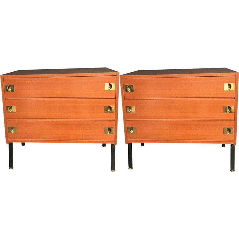 Pair of vintage chest of drawers by René-Jean Caillette in wood 1960
