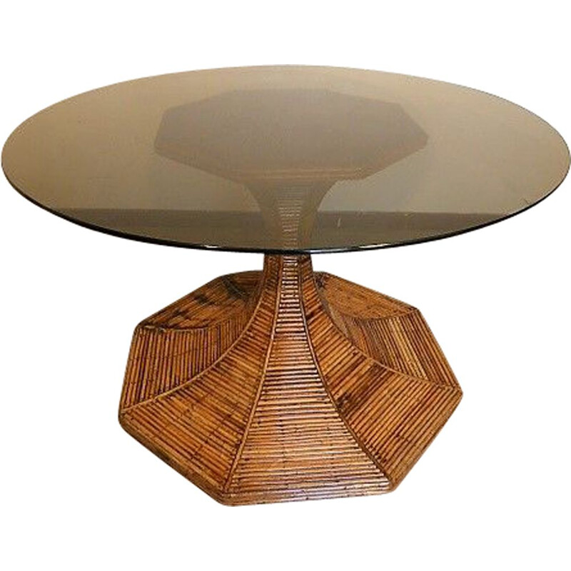 Vintage rattan dining table by Gabrielle Crespi for Vivai Del Sud, 1970