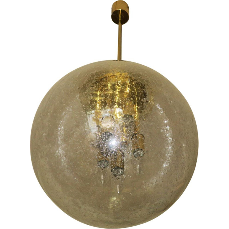 Vintage Large Frosted  and Brass globe pendant light by Doria Leuchten,1960