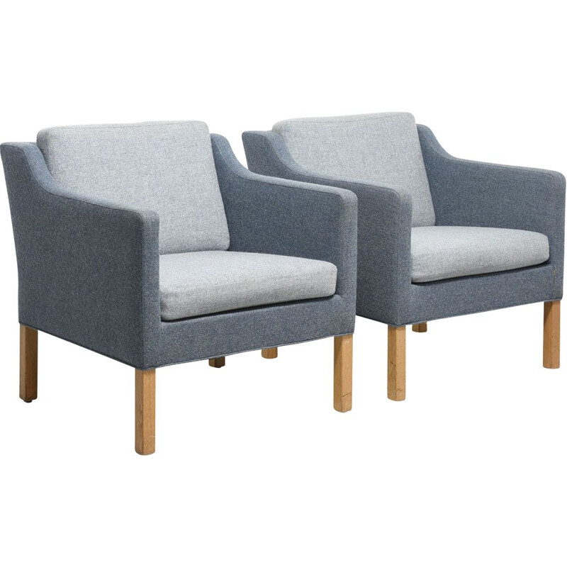 Paire of Scandinavian vintage blue armchairs by Børge Mogensen,1960