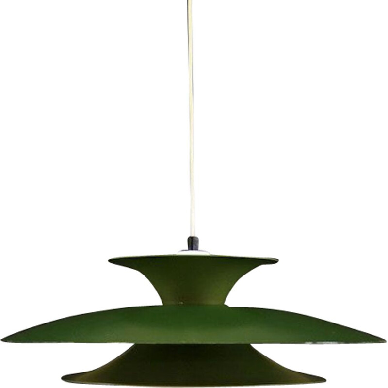 Vintage hanging lamp green metal Scandinavian 1960-70s