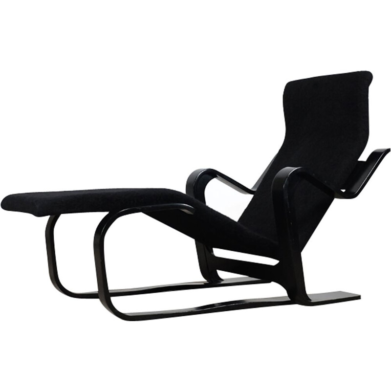 Vintage chaise lounge black in beech by Marcel Breuer