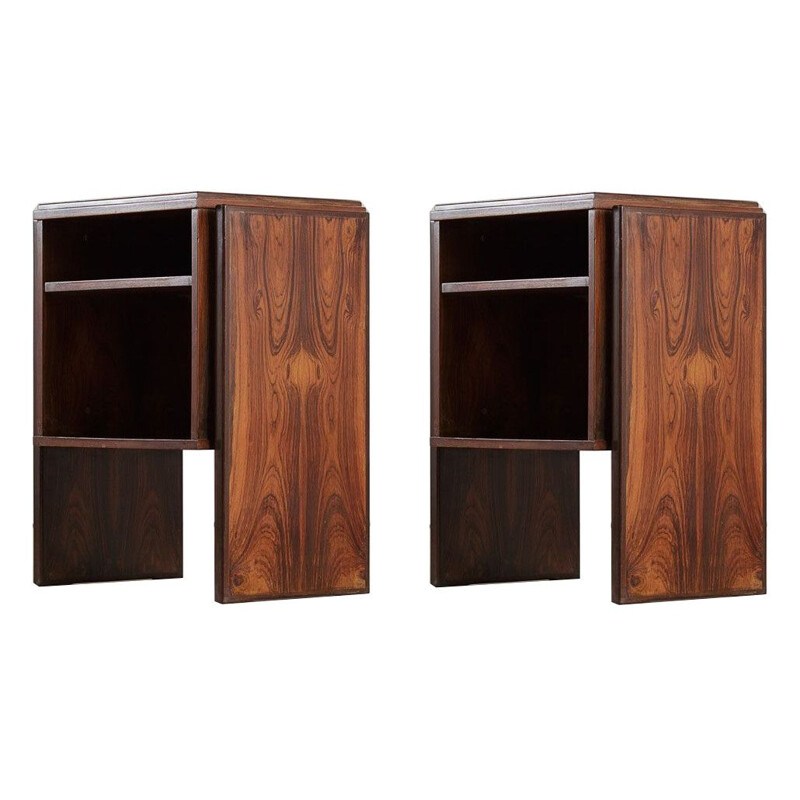 Pair of vintage rosewood side tables by Joaquim Tenreiro 1970s