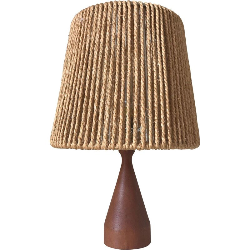 Vintage table lamp in teak and rope Scandinavian design 1960