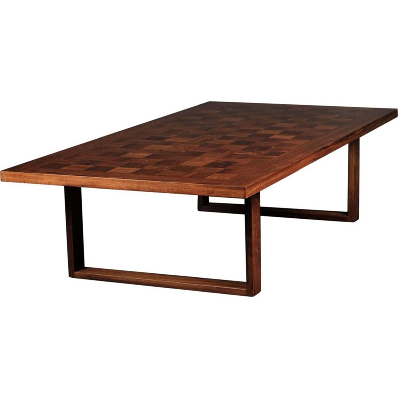 Vintage coffee table in rosewood Chess Boogie-Woogie Poul Cadovius 1960s