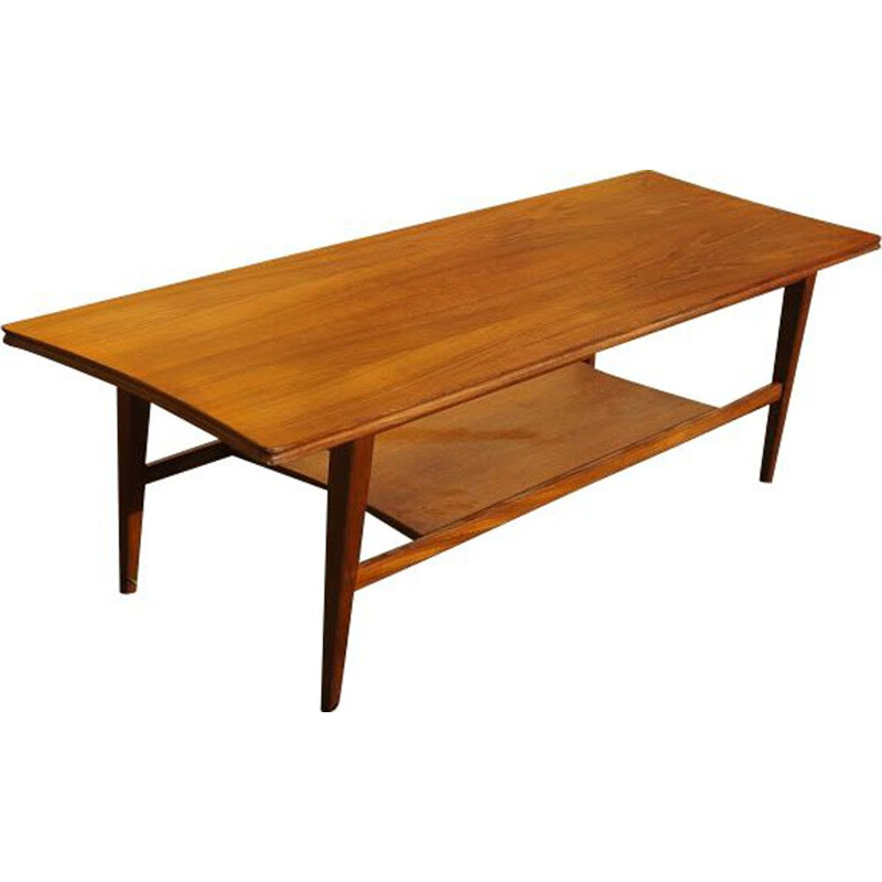 Vintage coffee table with shelf in teak, Denmark 1960