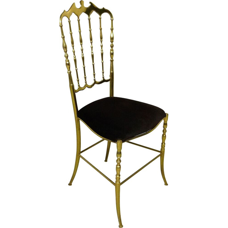 Vintage chair in brass by Chiavari Italy 1960-70s