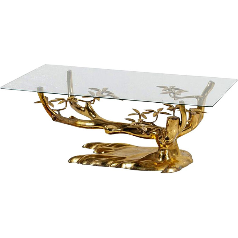 Vintage Coffee Table Bonsaï in Brass by Willy Daro 1970s
