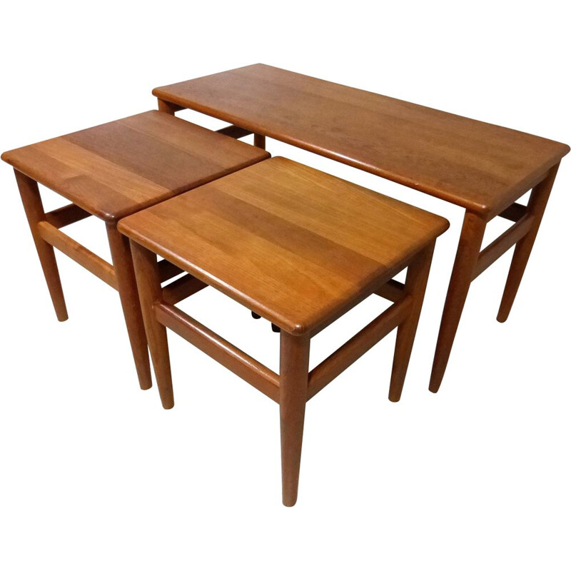 Set of 3 vintage Nesting Tables in Teak Denmark 1970s