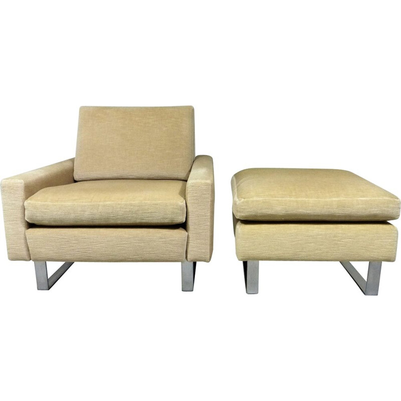 Vintage armchair and footstool by Friedrich Wilhelm Moller, 60s