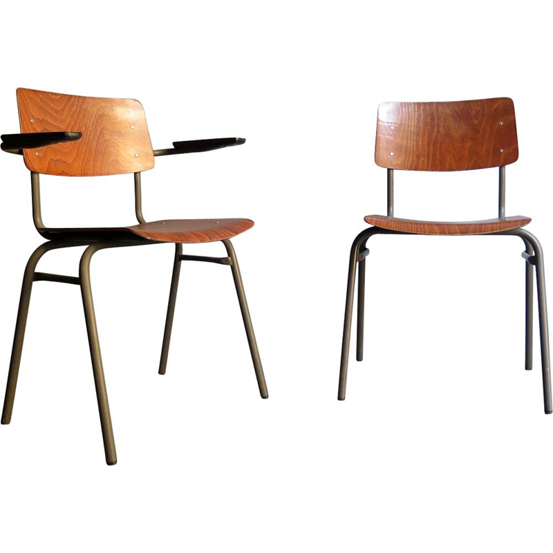 Set of 2 vintage industrial chairs, German, 1950s