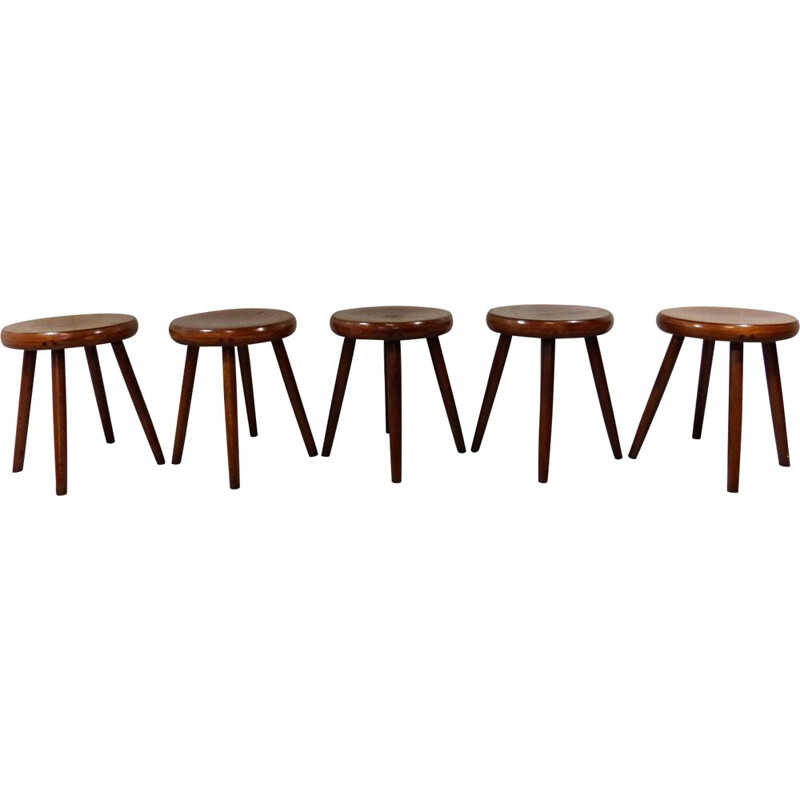 Set of 5 vintage in wooden stools 1940-50s