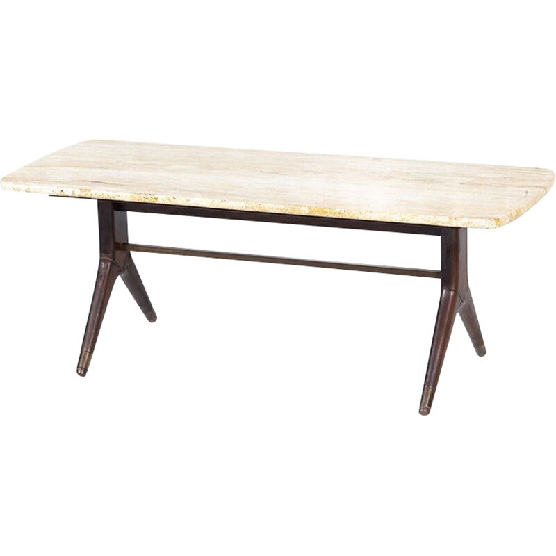 Vintage Travertine & Teak Coffee Table by A.A.Patijn for Zijlstra Joure, 1950s