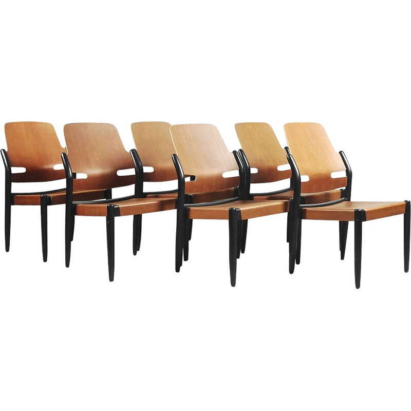 Set of 6 vintage chairs Mahogeny Plywood 8053B Åkerbloms by Gunnar Eklöf, 1950s,