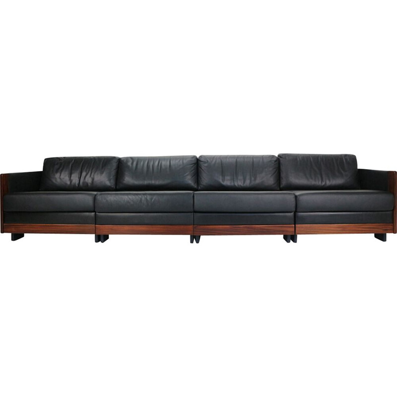 Vintage Black Leather 4-Seat Sofa by Afra & Tobia Scarpa Model 920, 1960s
