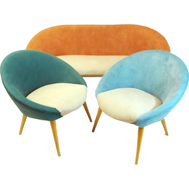 Vintage Lounge set  Denmark, 1970s armchairs, sofa renovation