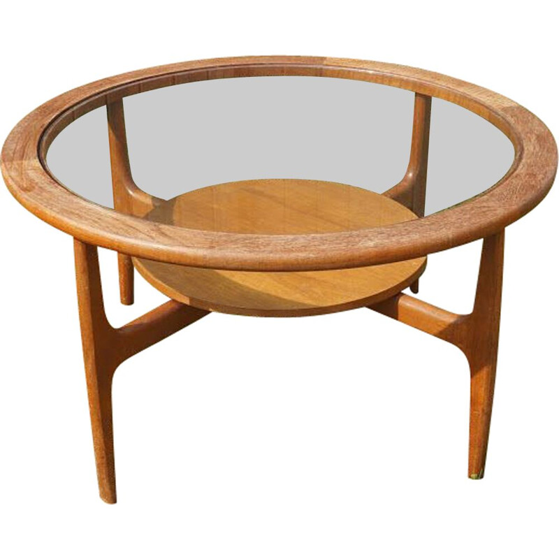 Vintage CoffeeTable round in glass and teak, 1960