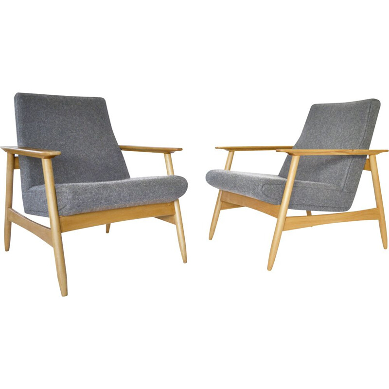 Pair of vintage Light Grey Azuolas Armchairs by Valerija Ema Cukermanienė, 1960s