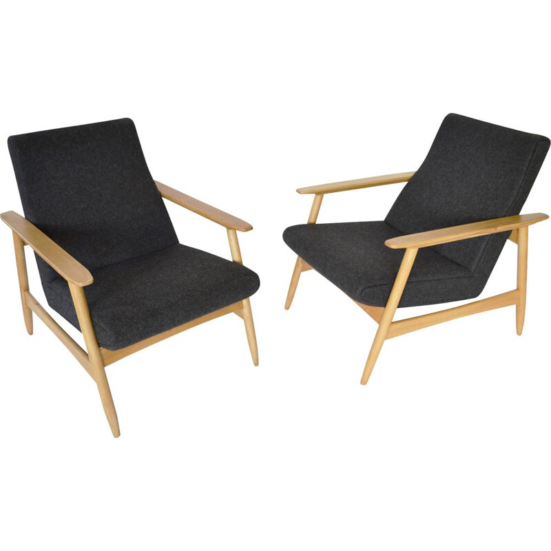 Pair of vintage Anthracite Grey Azuolas Armchairs by Valerija Ema Cukermanienė, 1960s