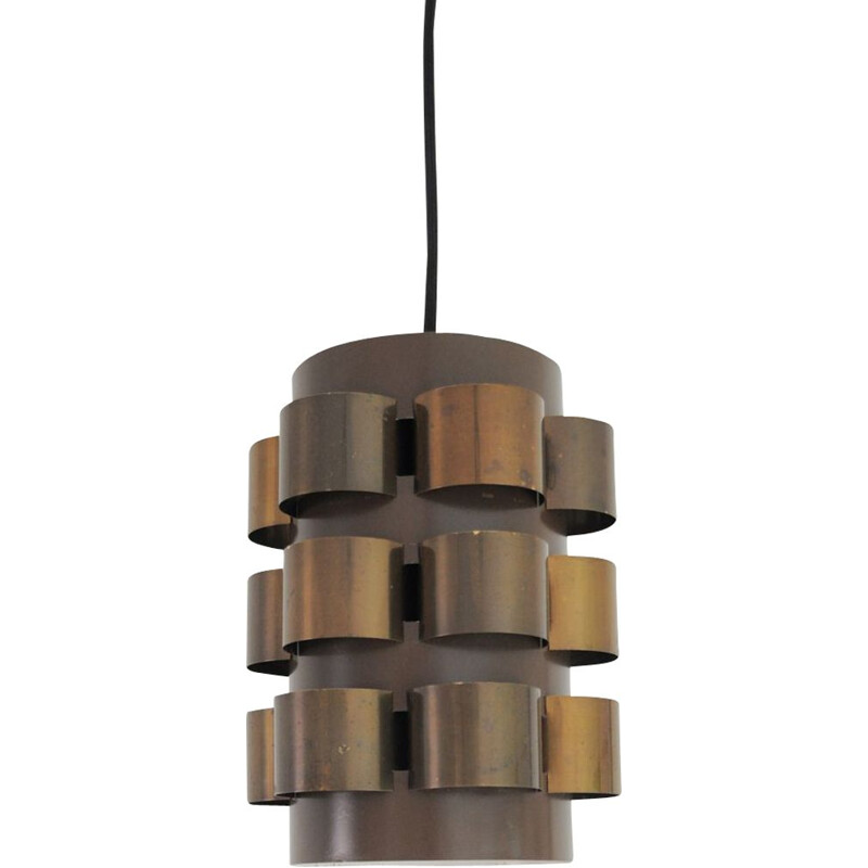 Vintage hanging lamp in brass by Werner Schou for Coronell, Danish