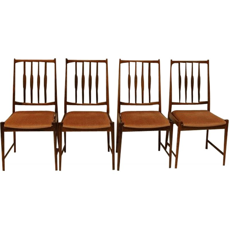Set of 4 vintage chairs for Bruksbo in rosewood and pink velvet 1960