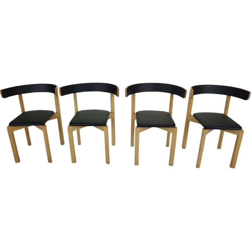 Set of 4 vintage chairs for Schiang Møbler in black leatherette and marple 1970